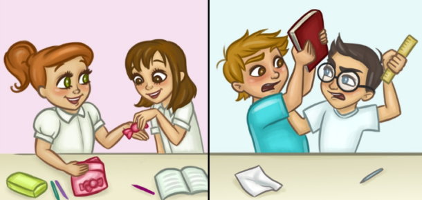 Kadın ve erkek arkadaşlıklarının farkını anlatan çizimler