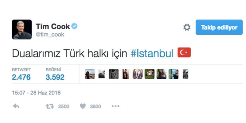 Tim Cook, Atatürk Havalimanı Saldırısı Sonrası Destek Tweet'i attı