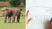 Oğlunun çizimlerini gerçeğe dönüştüren babanın komik çalışmaları