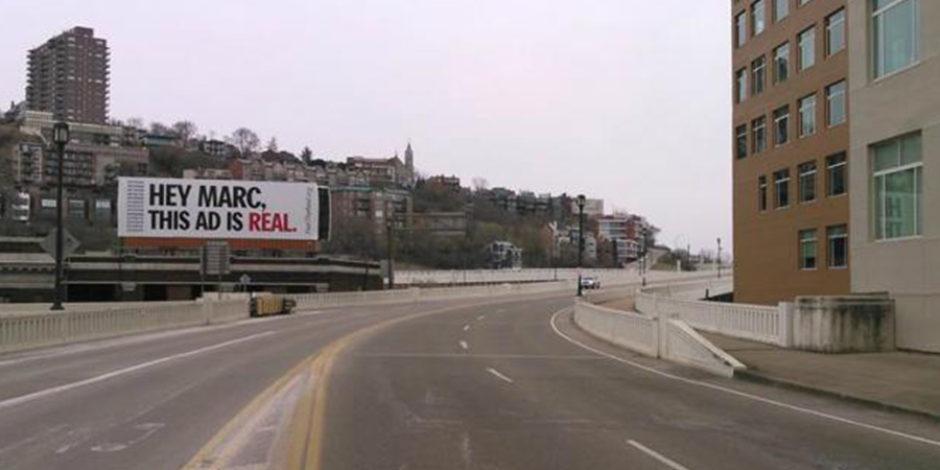 P&G'nin pazarlama yöneticisine yönelik bilboard reklamı