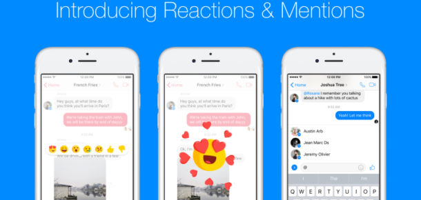 Reactions, Facebook Messenger'a geldi